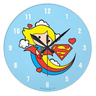 Chibi Supergirl Fliegen-Regenbogen Große Wanduhr