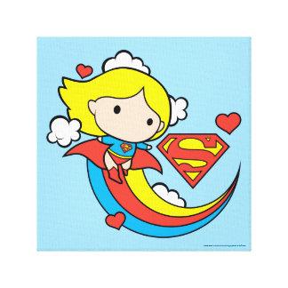 Chibi Supergirl Fliegen-Regenbogen Leinwanddruck