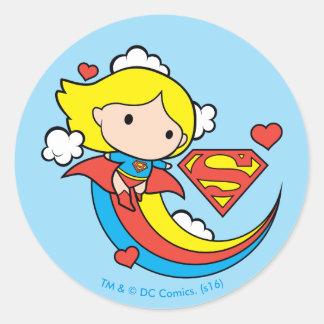 Chibi Supergirl Fliegen-Regenbogen Runder Aufkleber