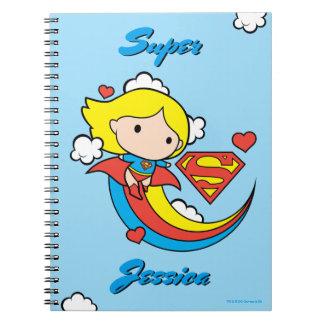 Chibi Supergirl Fliegen-Regenbogen Spiral Notizblock