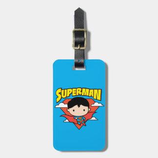 Chibi Supermann-Tupfen-Schild und Name Kofferanhänger