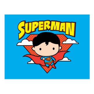 Chibi Supermann-Tupfen-Schild und Name Postkarte
