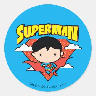 Chibi Supermann-Tupfen-Schild und Name Runder Aufkleber