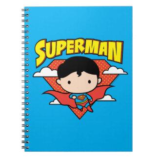 Chibi Supermann-Tupfen-Schild und Name Spiral Notizblock