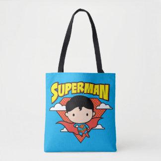 Chibi Supermann-Tupfen-Schild und Name Tasche