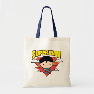 Chibi Supermann-Tupfen-Schild und Name Tragetasche