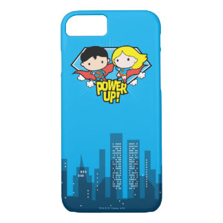 Chibi Supermann u. Chibi Supergirl Power oben! iPhone 8/7 Hülle