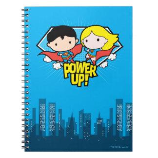 Chibi Supermann u. Chibi Supergirl Power oben! Notizblock