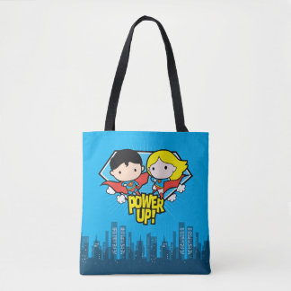 Chibi Supermann u. Chibi Supergirl Power oben! Tasche
