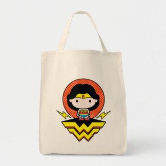 Chibi Wunder-Frau mit Tupfen und Logo Einkaufstasche