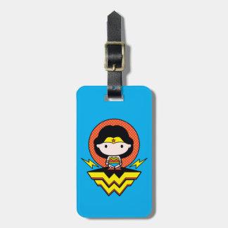 Chibi Wunder-Frau mit Tupfen und Logo Gepäckanhänger