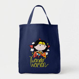 Chibi Wunder-Frauen-Fliegen mit Lasso Einkaufstasche