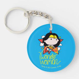 Chibi Wunder-Frauen-Fliegen mit Lasso Schlüsselanhänger