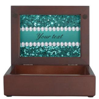 Chic-aquamariner Imitat-Glitter und Diamanten Erinnerungsdose