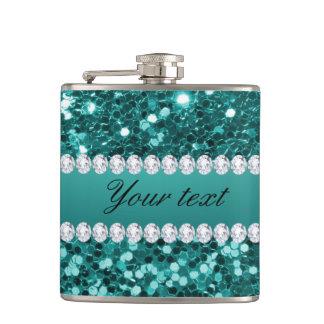 Chic-aquamariner Imitat-Glitter und Diamanten Flachmann