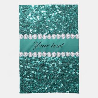 Chic-aquamariner Imitat-Glitter und Diamanten Handtuch