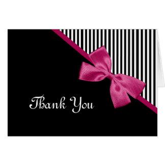 Chic danken Ihnen Schwarzweiss-Streifen-rosa Band Karte