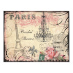 Chic-Eiffel-Turm u. Leuchter-Brautparty 10,8 X 14 Cm Einladungskarte