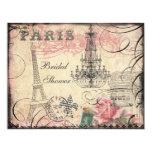 Chic-Eiffel-Turm u. Leuchter-Brautparty Personalisierte Einladungskarte