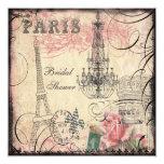 Chic-Eiffel-Turm u. Leuchter-Brautparty Quadratische 13,3 Cm Einladungskarte