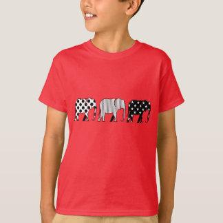 Chic-Elefant-Schwarz-weiße Punkt-Streifen-Sterne T-Shirt