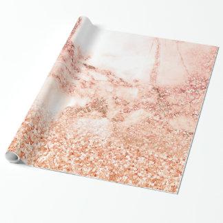 Chic-eleganter Rosen-GoldOmbre Glitzer-Marmor Geschenkpapier
