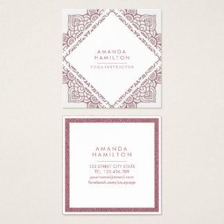 Chic-eleganter Weiß-und Rosen-Gold-MANDALA Quadratische Visitenkarte