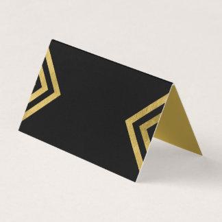 Chic-elegantes Schwarzes und Imitat-Gold Platzkarte