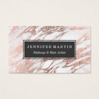Chic-elegantes Weiß-und Rosen-Goldmarmor-Muster Visitenkarten