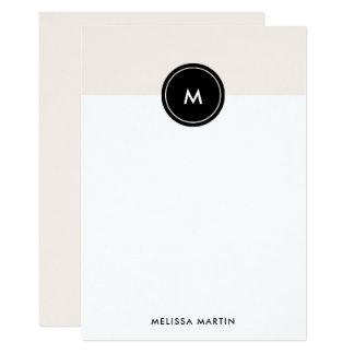 Chic erröten rosa und schwarzes Briefpapier Karte