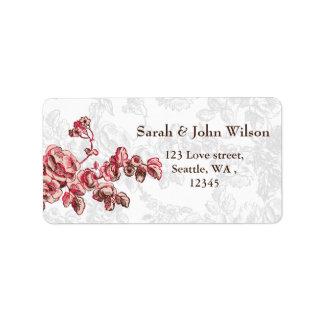Chic erröten rosa Vintage Blumenhochzeit Adress Aufkleber