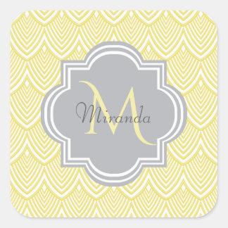 Chic-gelbe Kunst-Deko-Kamm-Muschel-grauer Quadratischer Aufkleber