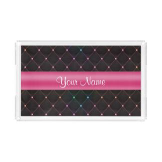Chic gestepptes rosa schwarzes buntes acryl tablett