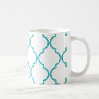 Chic Girly aquamariner Quatrefoil Glitter-Druck Kaffeetasse