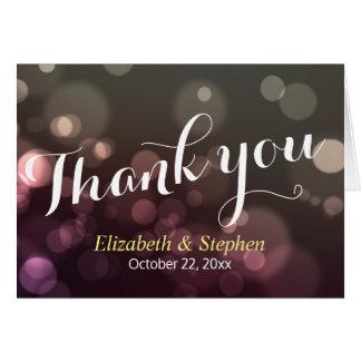 Chic-Glitter Bokeh Schein-Hochzeit danken Ihnen zu Karte