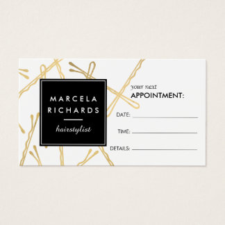 Chic Gold Bobby Pins Hair Stylist Appointment Card Visitenkarte