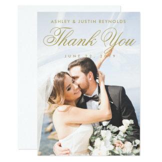 Chic-Gold und weiße Foto-Hochzeit danken Ihnen zu Karte