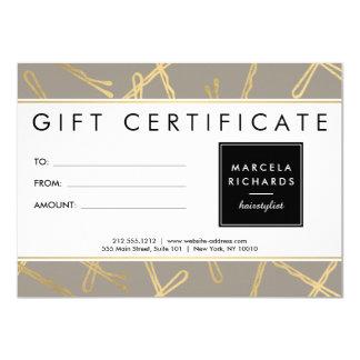 Chic-Goldbobby-Button-Haar-Stylist-graue 11,4 X 15,9 Cm Einladungskarte