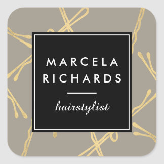 Chic-Goldbobby-Button-Haar-Stylist-Salon-Grau Quadratischer Aufkleber