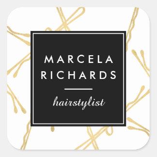 Chic-Goldbobby-Button-Haar-Stylist-Salon Quadratischer Aufkleber