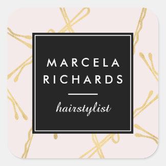 Chic-Goldbobby-Button-Haar-Stylist-Salon-Rosa Quadratischer Aufkleber