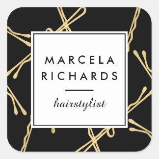 Chic-Goldbobby-Button-Haar-Stylist-Salon-Schwarzes Quadratischer Aufkleber