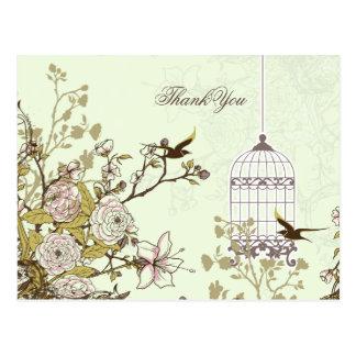 Chic green bird cage, love birds Thank You Post Card