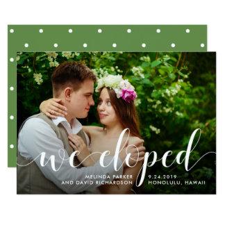 Chic-Grün   Eloped wir Foto-Mitteilung 12,7 X 17,8 Cm Einladungskarte