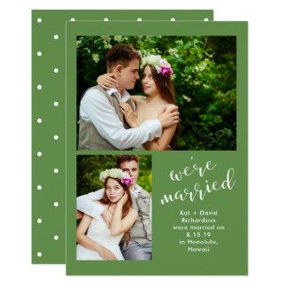 Chic-Grün   zwei Foto-Heirat-Mitteilung 12,7 X 17,8 Cm Einladungskarte