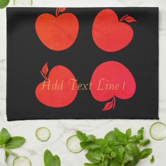 Chic-helle rote Apfel-personalisiertes schwarzes Geschirrtuch