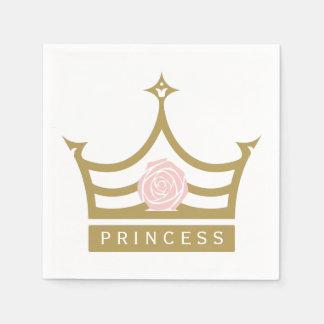 Chic-hellrosa Rose und Goldprinzessin Crown Serviette