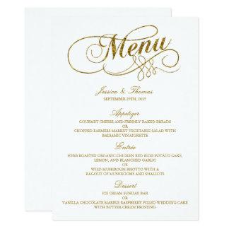 Chic-Imitat-Goldfolien-Hochzeits-Menü-Schablone 11,4 X 15,9 Cm Einladungskarte