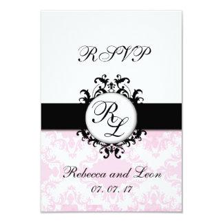 Chic-Initialen-rosa Damast-Hochzeit UAWG Karte Personalisierte Ankündigungskarten
