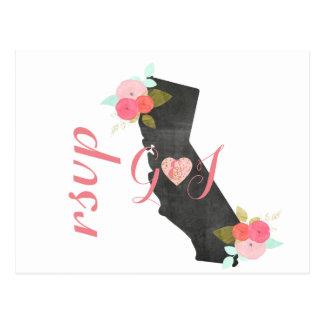 Chic-Kalifornien-Staats-Blumenhochzeit UAWG Postkarte